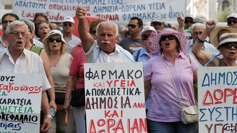 Happy greek people are singing their songs before going to work