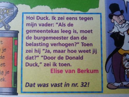 Ingezonden brief in de Donald Duck uit 1988