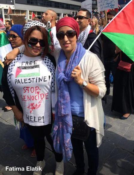 Fatima Elatik (PvdA) bij anti Israël en pro Jihad demonstratie in Den Haag