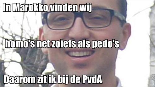 Jamal Nouhi vindt homo's net zo iets als Pedo's. Gelukkig is hij raadslid bij de PvdA dus dat is geen probleem.