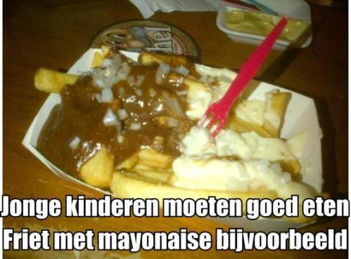Volgens de politiek moeten kinderen gezond eten Friet met mayonaise bijvoorbeeld
