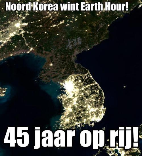 Al 45 jaar is Noord Korea de winnaar van Earth Hour! Een fantastische prestatie!