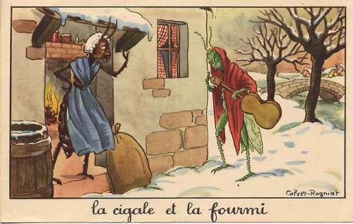 De Krekel en de Mier: Wie in de zomer niet spaart zal in de winter niet eten