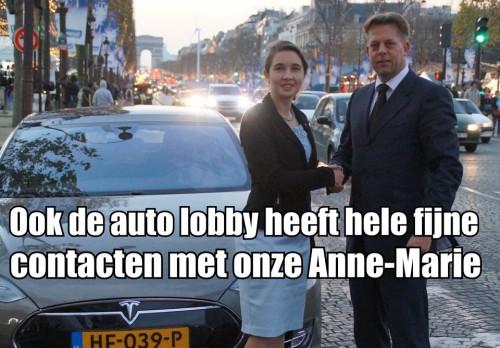 Anne-Marie Spierings (d66) werkt dagelijks kei en kei hard om de belangen van de auto lobby te behartigen.