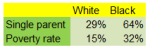 Black White Poverty Rate vs household composition