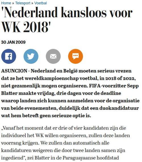 Kandidaat WK 2018 bijvoorbaat kansloos