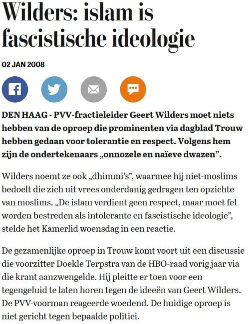 Het Gelijk van Wilders: Krantenknipseltje uit 2008.