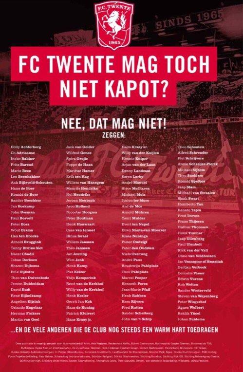 FC Twente heeft wat vrienden opgetrommeld om eens wat extra subsidie naar binnen te trekken