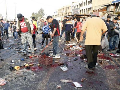 Bagdad aanslag bloed op straat
