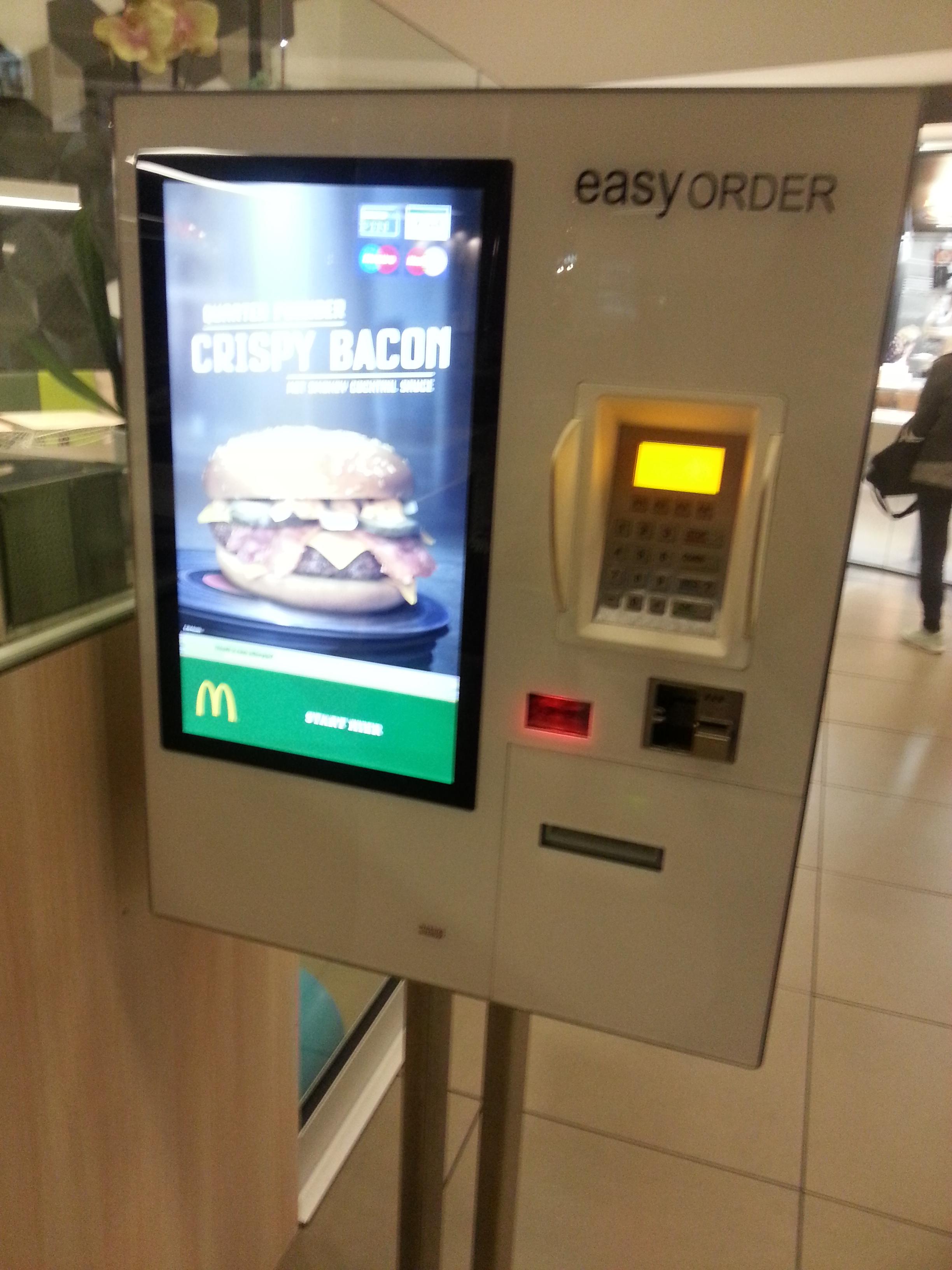 Order automaat bij mc donald